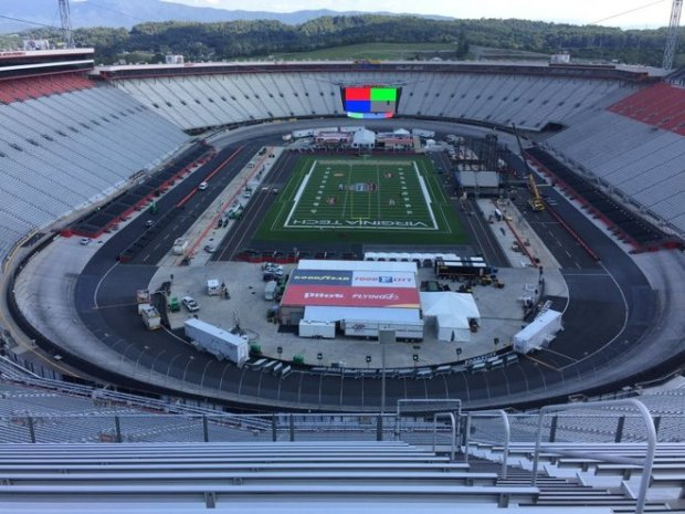 """A view from maybe the worst seat at Bristol Motor Speedway."""