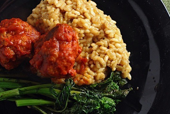 spicy pork meatballs with parmasean risotto.jpg