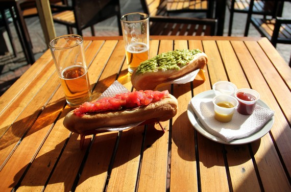 Hot dog completo in Santiago, Chile