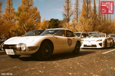 A Toyota 2000GT with its spiritual successor, a Lexus LFA Spyder