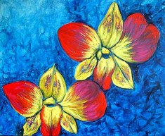"""Orchids, 24x30"""" Acrylic on Canvas"""