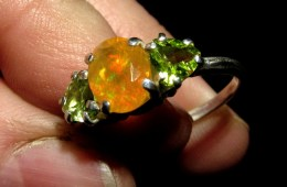 Mexican Contraluz Fire Opal with Peridot set in Sterling