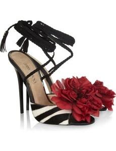 Jimmy Choo Faye Zebra-Print Calf Hair Sandals: Retail ($1,795)