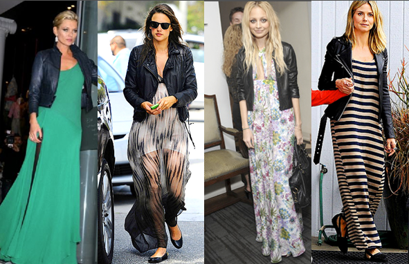 Celebrities and Maxi Dresses with Leather Jackets