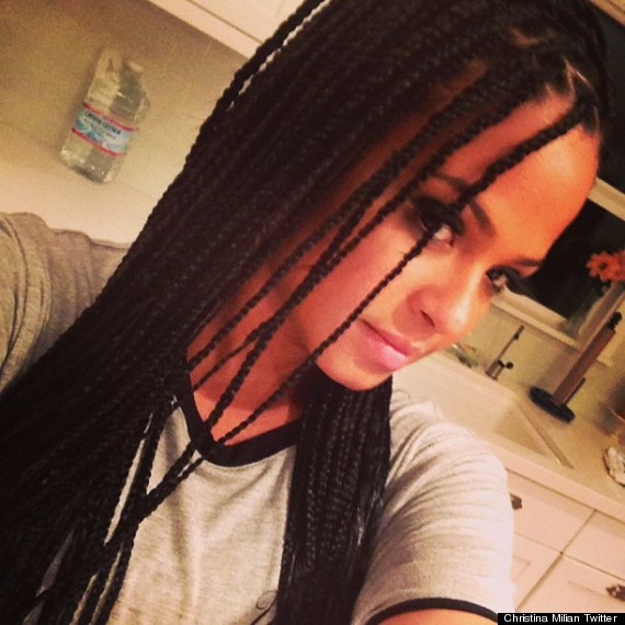 Christina Milian in box braids, posted on her Twitter
