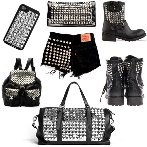 Various studded and spiked items.