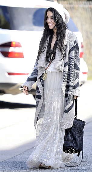 Vanessa-Hudgens-Wrap-sweater-Sequin-Maxi-Skirt
