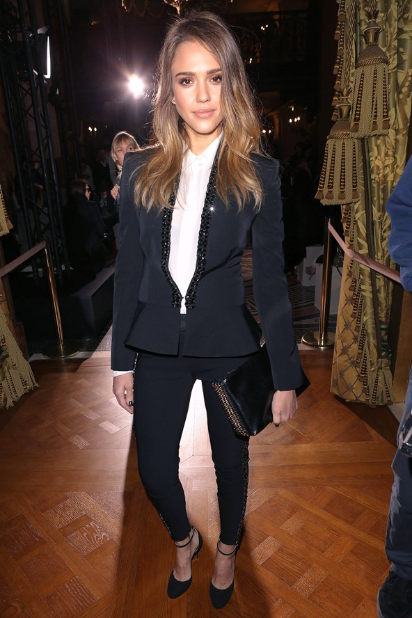 Jessica Alba looking cool in a monochromed, beaded tuxedo. Image from Glamour.