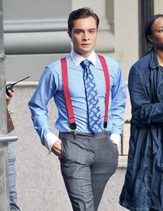 Ed Westwick on set of Gossip Girl