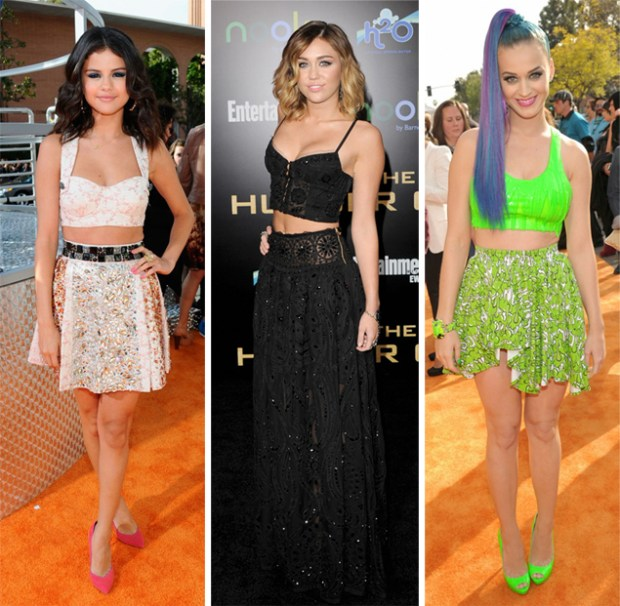 Selena Gomez, Miley Cyrus and Katy Perry all sporting three different ways to wear a crop top