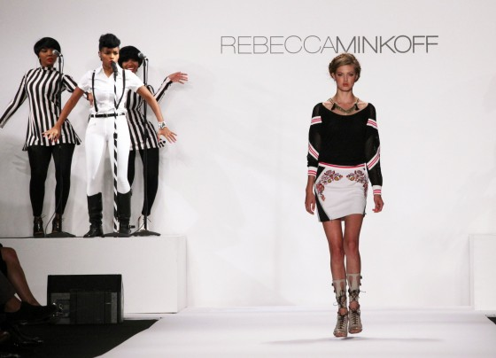 Janelle Monae performing at the Rebecca Minkoff NYFW show