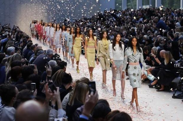 Models ending the Burberry Prorsum show at LFW