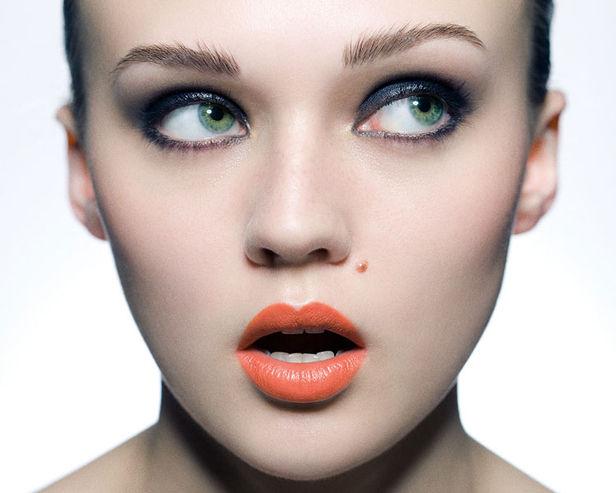 Orange lipstick model