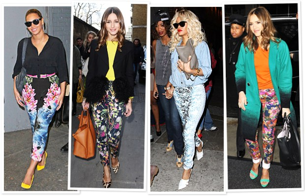 Celebrities wearing floral pants