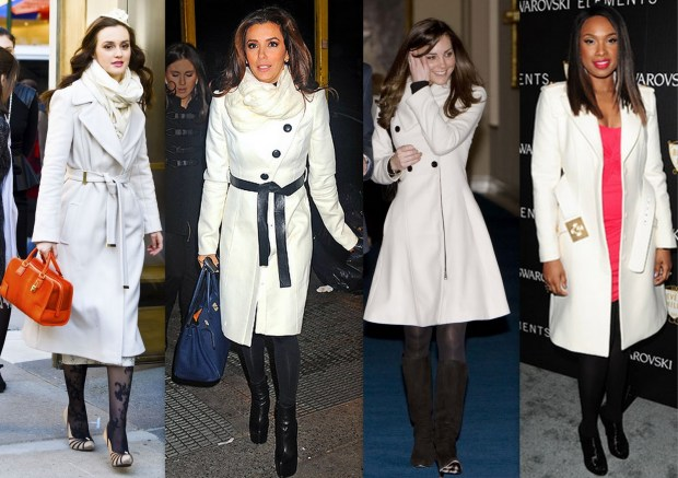 Leighton Meester, Kate Middleton, Jennifer Hudson and Eva Longoria wearing white winter coats.