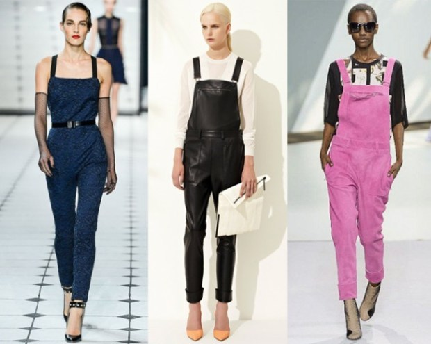 Models wearing overalls on the runway