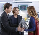 """How Does She Do It?"" -- Kara's two identities are stretched thin when Supergirl must protect National City from a series of bombings and Kara is tasked with babysitting Cat's son, Carter, on SUPERGIRL, Monday, Nov. 23 (8:00-9:00 PM, ET/PT) on the CBS Television Network. Pictured left to right: Peter Facinelli, Chyler Leigh and Melissa Benoist Photo: Robert Voets/Warner Bros. Entertainment Inc. © 2015 WBEI. All rights reserved."
