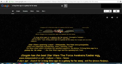 "Google search engine results for ""A long time ago in a galaxy far far away"""