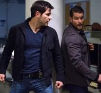 "GRIMM -- ""Rat King"" Episode 505 -- Pictured: (l-r) David Giuntoli as Nick Burkhardt, Damien Puckler as Meisner -- (Photo by: Scott Green/NBC)"