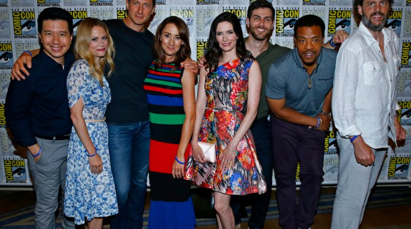 "COMIC-CON INTERNATIONAL: SAN DIEGO 2016 -- ""Grimm Panel and Press Room"" -- Pictured: (l-r) Reggie Lee, Claire Coffee, Sasha Roiz, Bree Turner, Bitsie Tulloch, David Giuntoli, Russell Hornsby, Silas Weir Mitchell, Friday, July 22, 2016, from the Hilton Bayfront, San Diego, Calif. -- (Photo by: Mark Davis/NBC)"