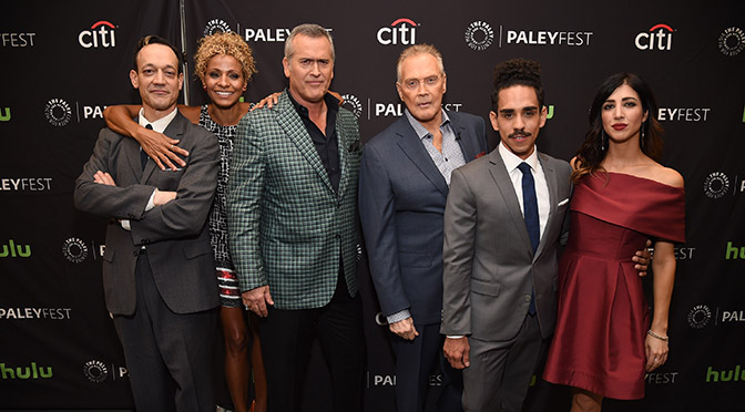 BEVERLY HILLS, CA - SEPTEMBER 14:  (L-R) Actors Ted Raimi, Michelle Hurd, Bruce Campbell, Lee Majors, Ray Santiago, and Dana DeLorenzo arrive at The Paley Center for Media's 10th Annual PaleyFest Fall TV Previews honoring STARZ's Ash vs. Evil Dead at the Paley Center for Media on September 14, 2016 in Beverly Hills, California.  (Photo by Michael Kovac/Getty Images for The Paley Center For Media) *** Local Caption *** Ted Raimi; Michelle Hurd; Bruce Campbell; Lee Majors; Ray Santiago; Dana DeLorenzo