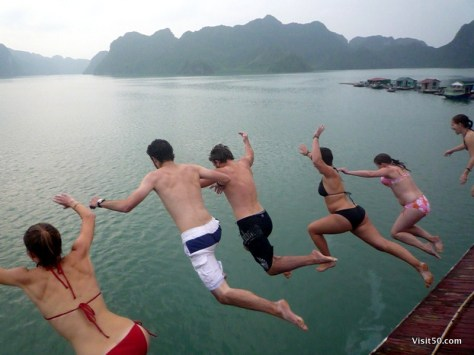 Jumping off the boat in Ha Long Bay, Vietnam