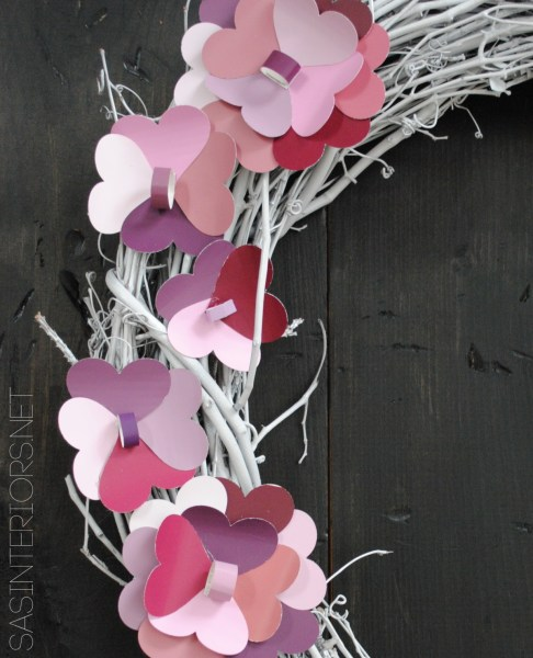 Valentine Wreath with Paint Chip Flowers by @Jenna_Burger of WWW.JENNABURGER.COM, featured on tatertotsandjello.com