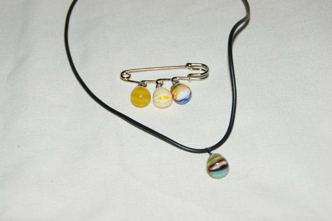 Teardrop Necklace Brooch Set