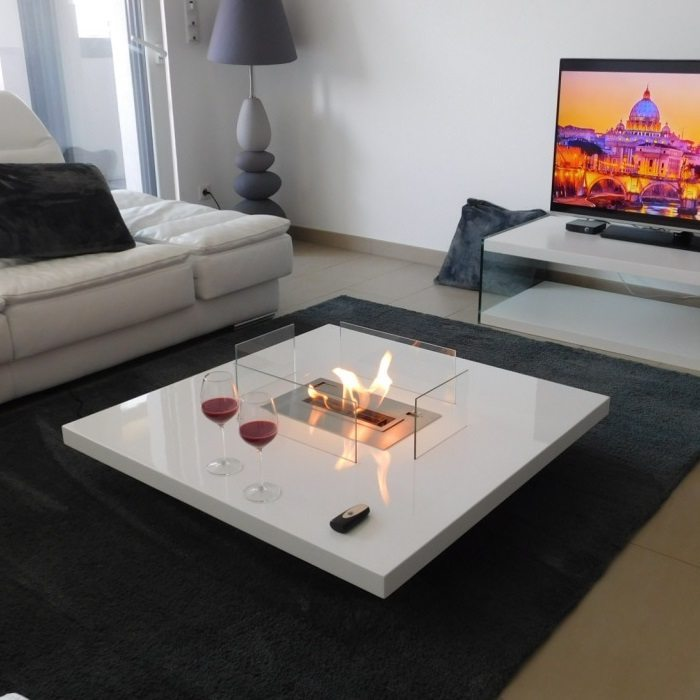 Couchtisch 180 Cm Coffee Table Fireplace With Remote Ethanol Burner Insert - Lou