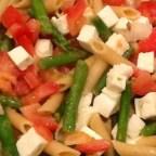 Lemon, Garlic, and Asparagus Warm Caprese Pasta Salad