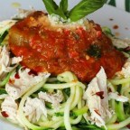 Zucchini Pasta with Roasted Red Pepper Sauce and Chicken