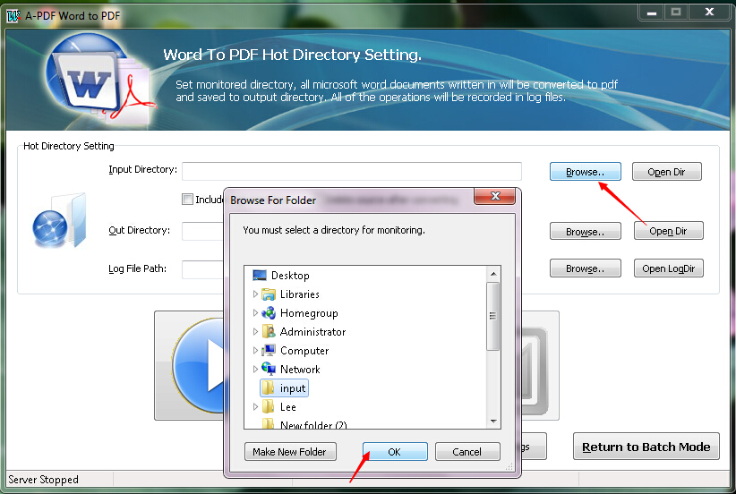 How to convert MS Office Word file to PDF file with Hot Directory
