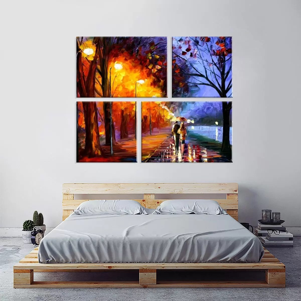 Conjunto De 4 Telas Decorativas Em Canvas Paisagem Love Decor - Telas Decorativas