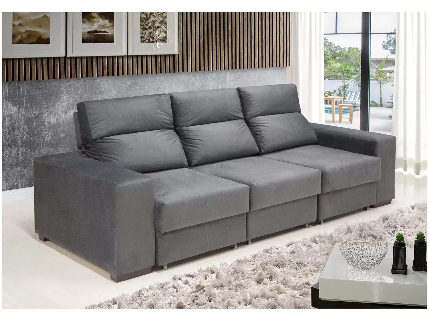 Sofa Retratil Uba Mg Sofá Retrátil Reclinável 3 Lugares Chapecó Catarina