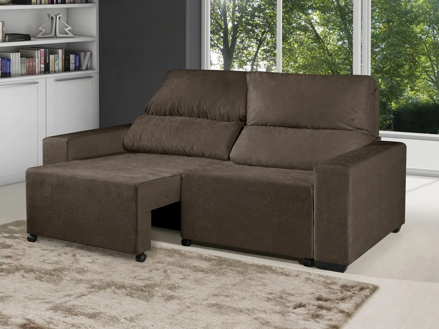Sofa Retratil E Reclinavel Impermeavel Sofá Retrátil Reclinável 3 Lugares Elegance Suede