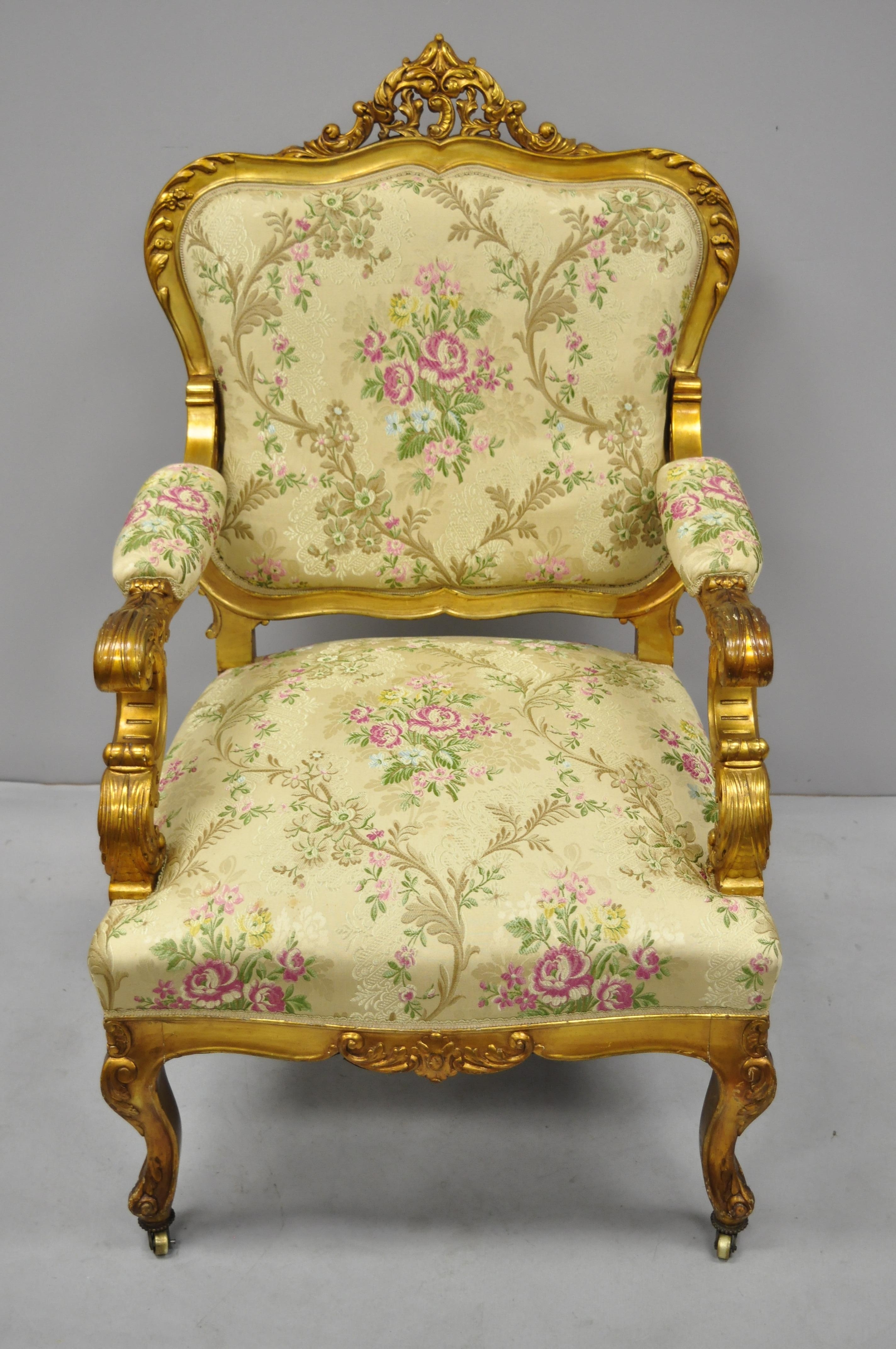 1920s French Louis Xv Rococo Style Gold Gilt Parlor Chair Armchair For Sale At 1stdibs