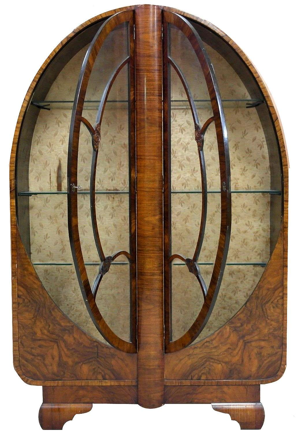 1930s Art Deco Vitrine Display Cabinet In Walnut For Sale