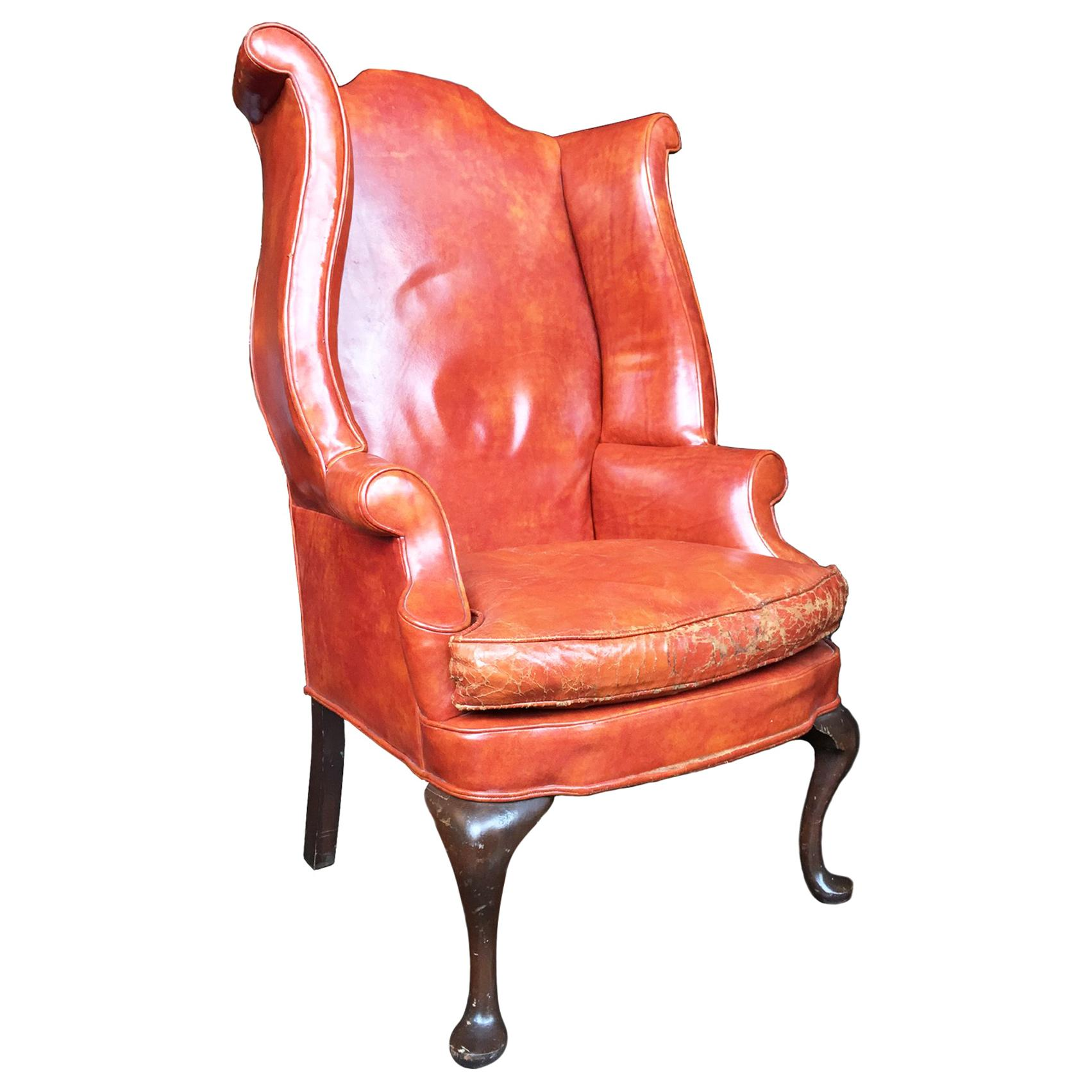 1930s Queen Anne Style English Leather Wingback Chair At - Leather Queen Chair