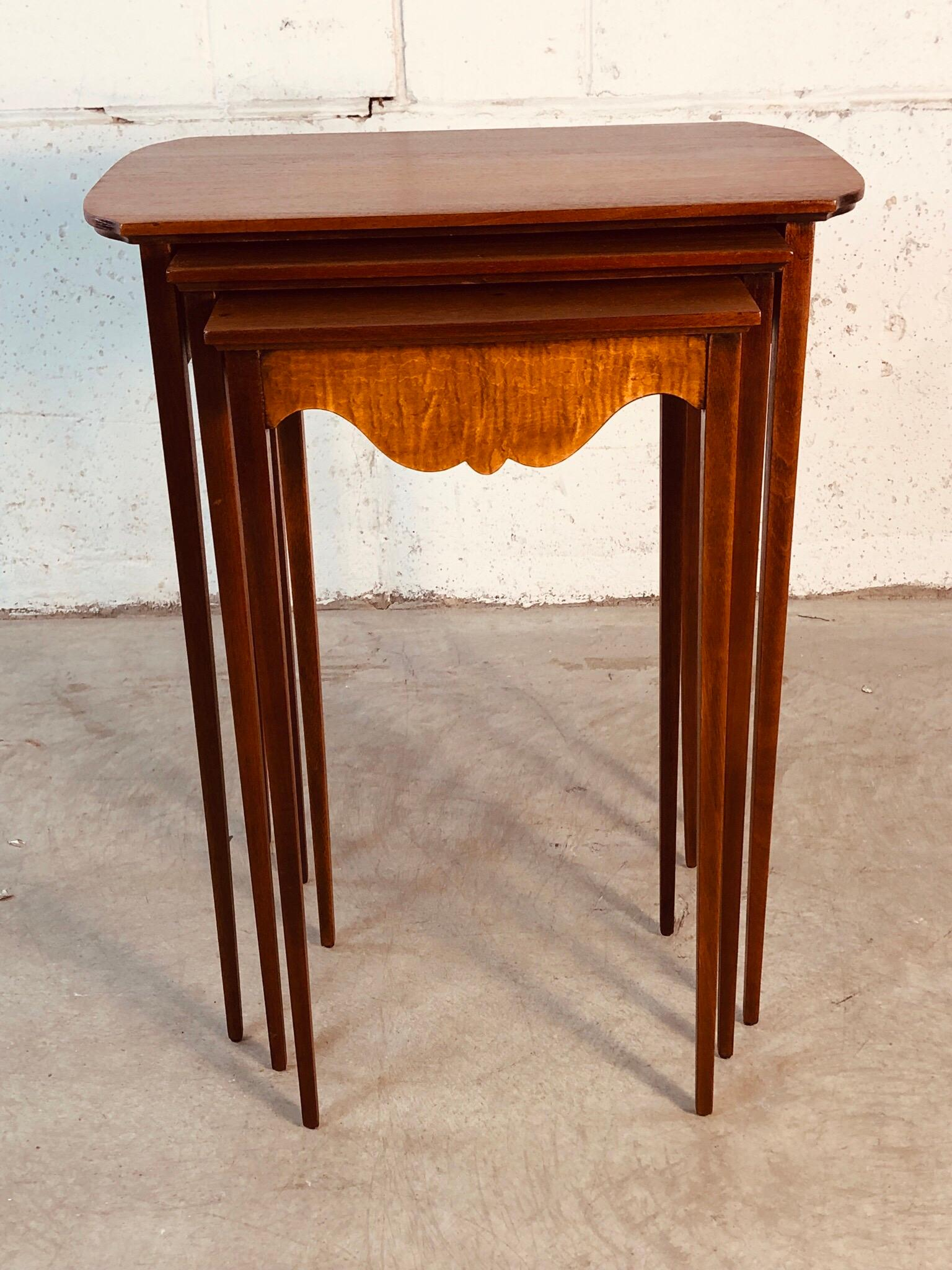 1950s Mahogany Nesting Tables With Tiger Maple Accent Set Of 3 For Sale At 1stdibs