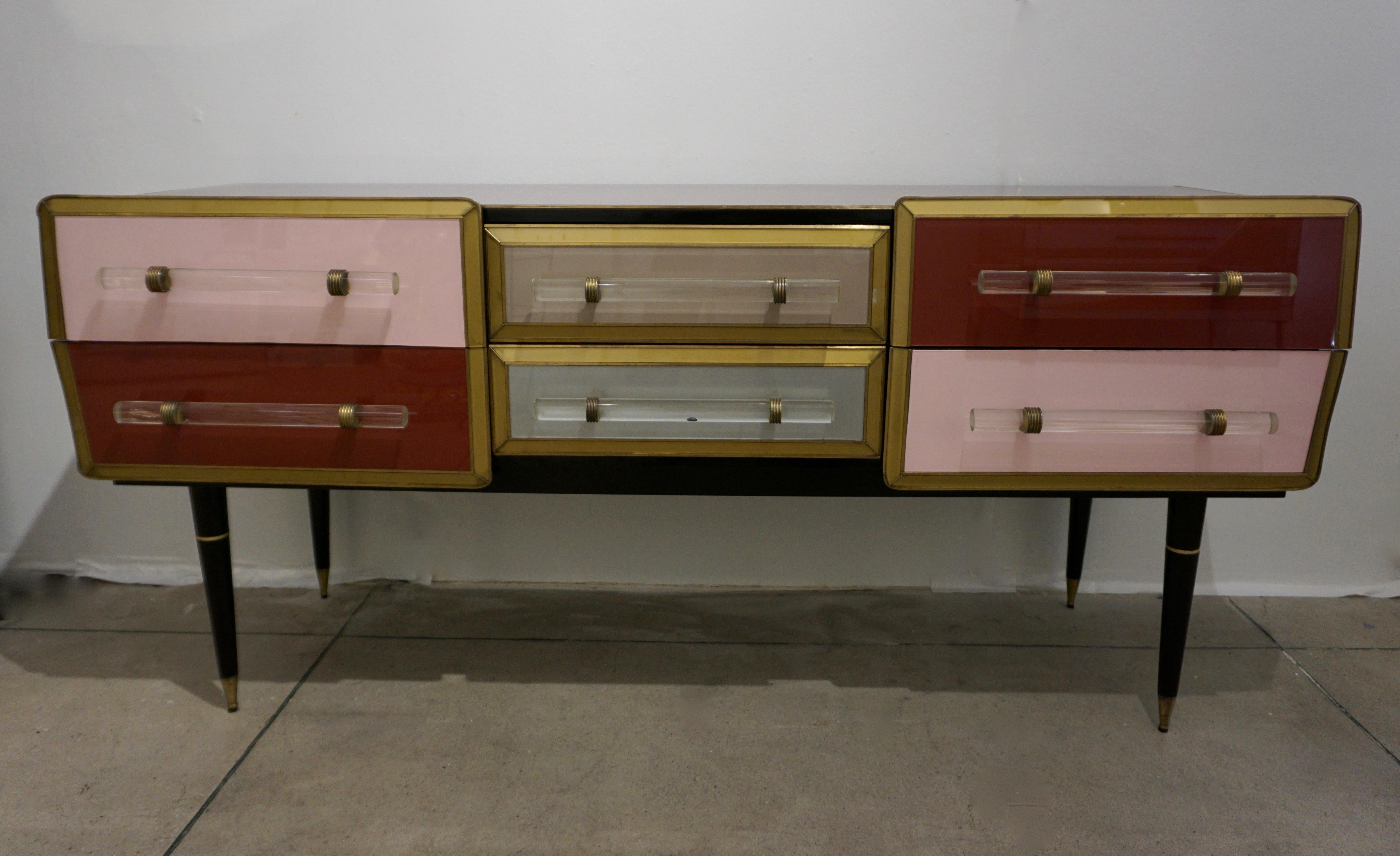 Vintage Nathan Sideboard 1960 Italian Vintage Rose Pink Gray Wine Gold Sideboard Console With 6 Drawers