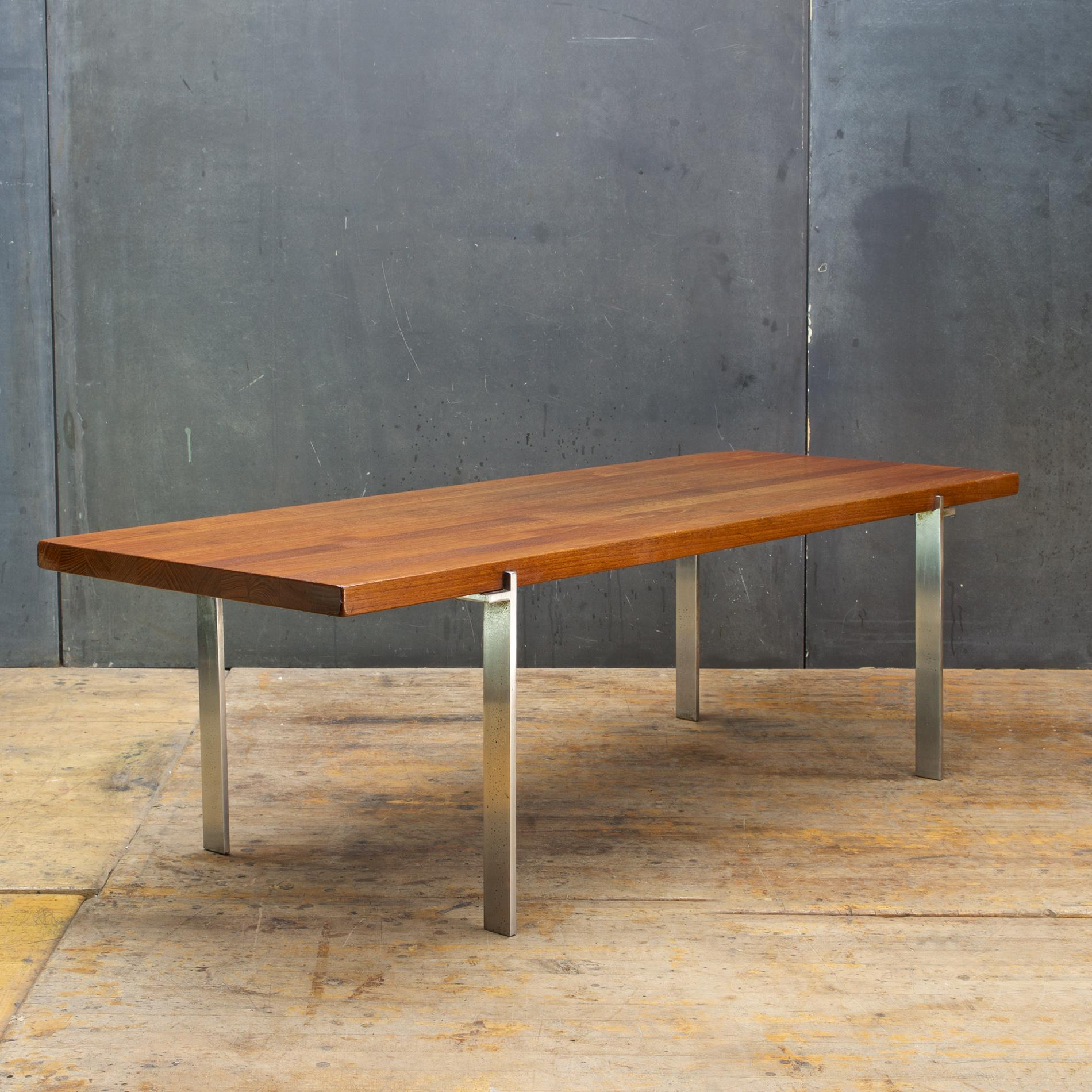 Teak Wandplank 1960s American Studio Craft Coffee Table Solid Teak Plank Welded Steel Baltimore