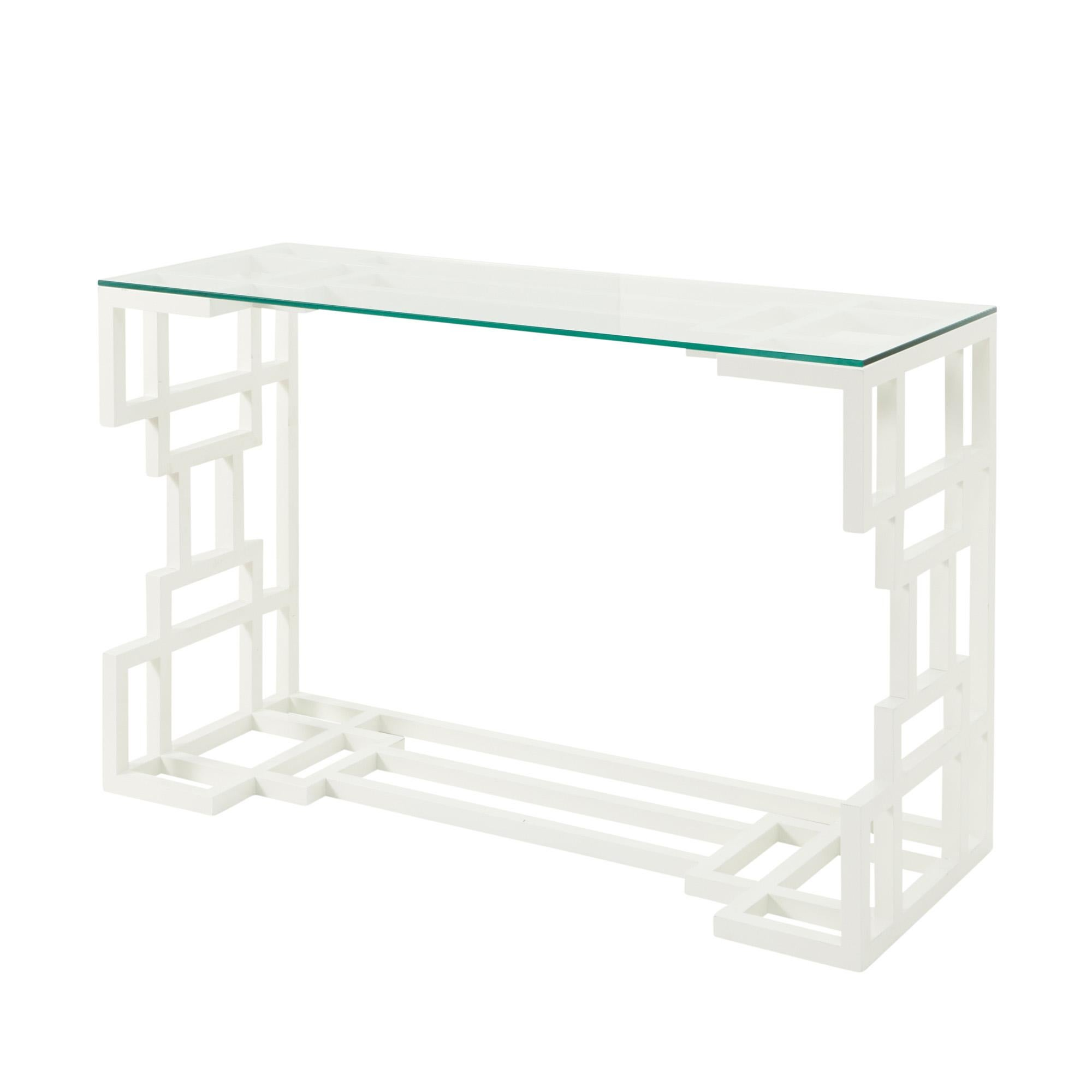 Glass Top Console Table 1980s Painted French Wood Console Table In White With Glass Top