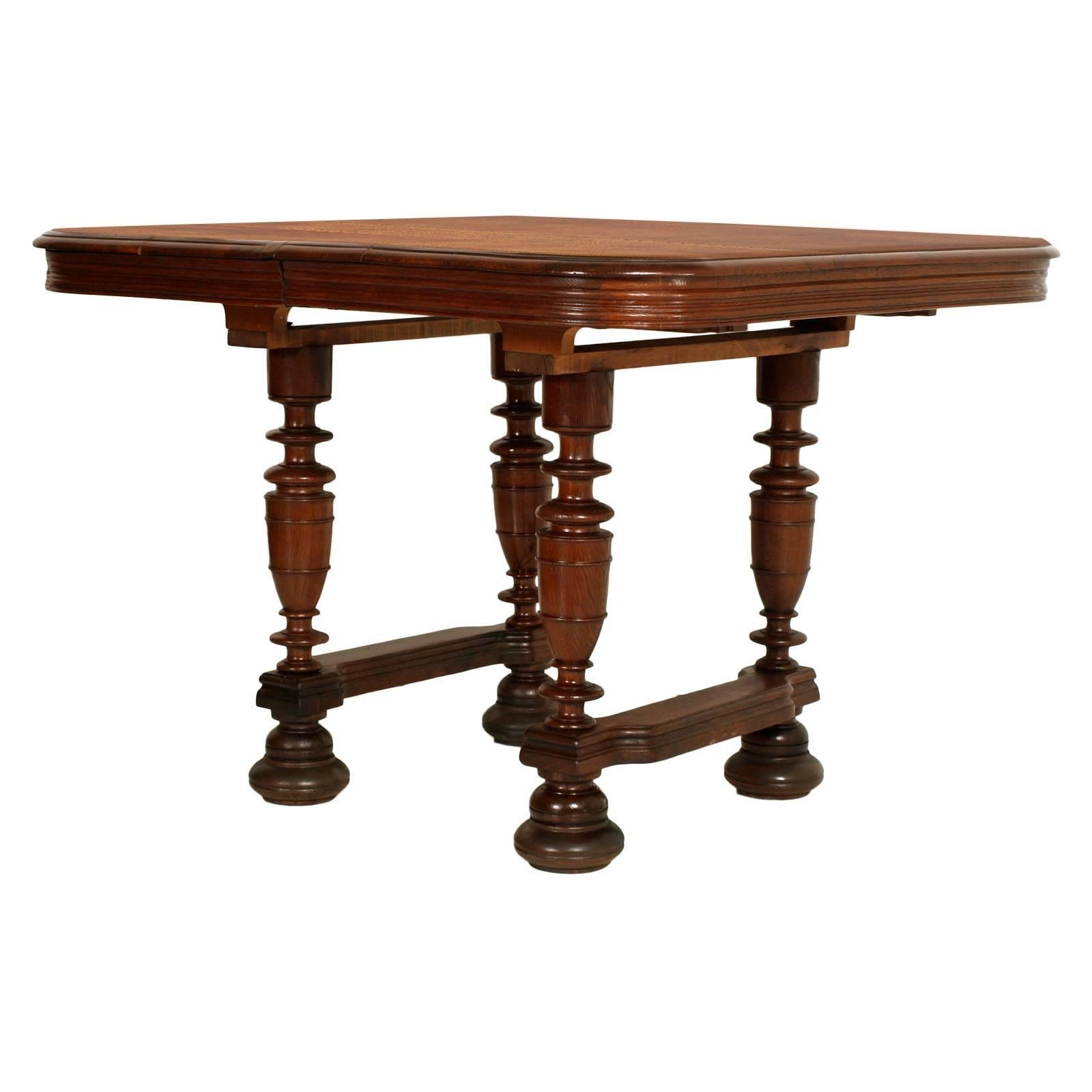 Tavolo Ovale Allungabile Vecchio 19th C Round Extendable Table Baroque Renaissance Solid Walnut Wax Polished