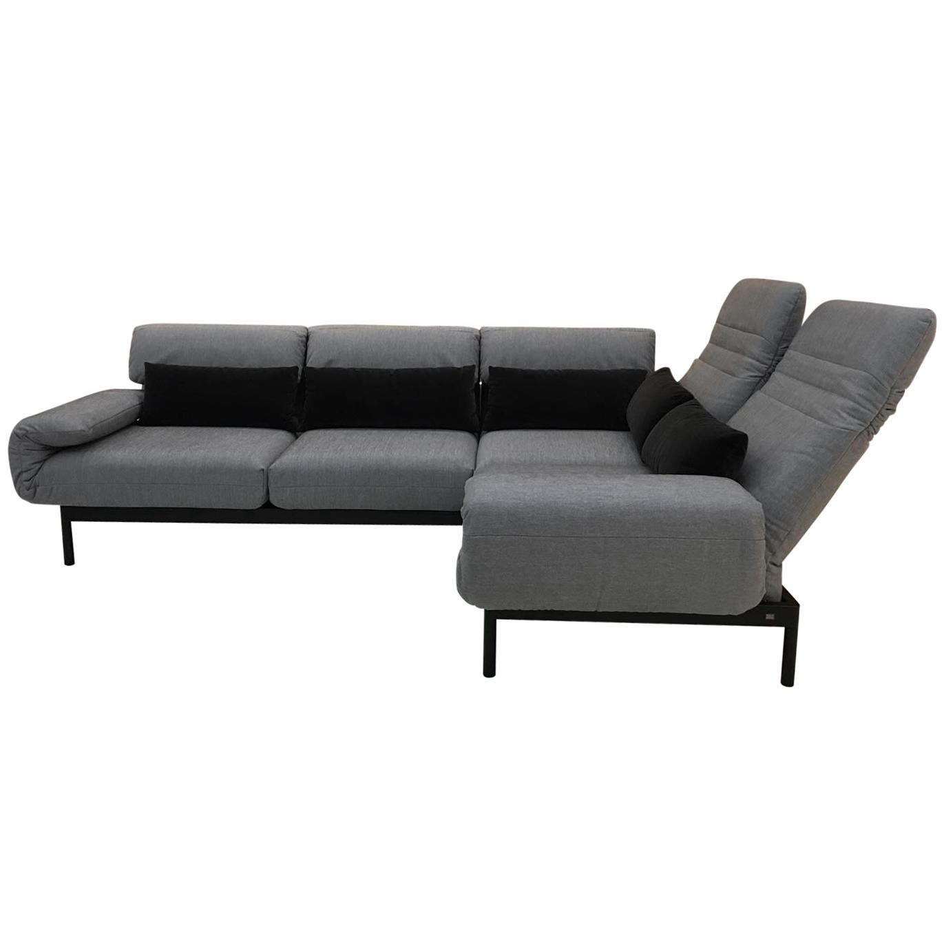 Rolf Benz Sofa 380 Plura 2 Piece Sectional Sofa In Grey Fabric Black Steel Frame With Recline Function