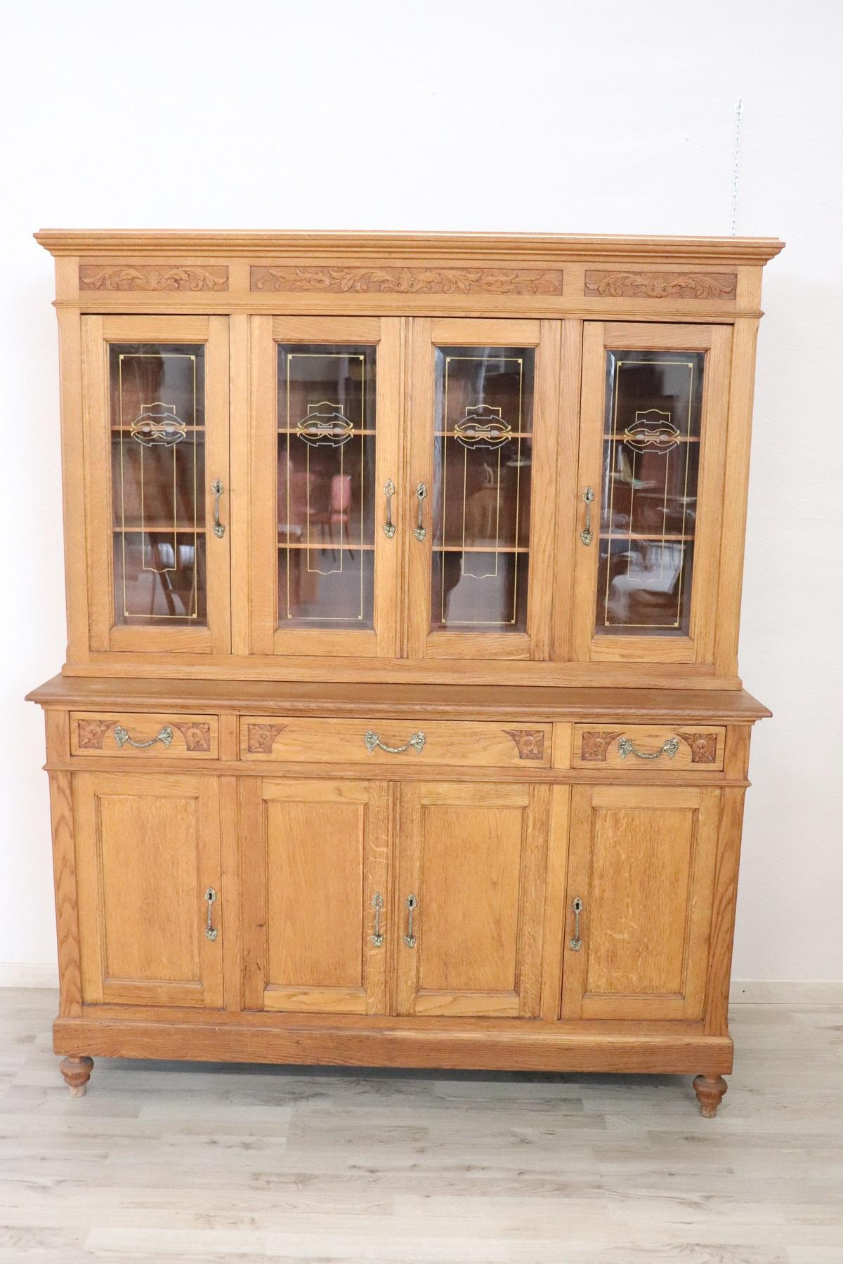 Sideboard Vitrine 20th Century Italian Art Nouveau Solid Chestnut Wood Dining Room Set 8 Pieces