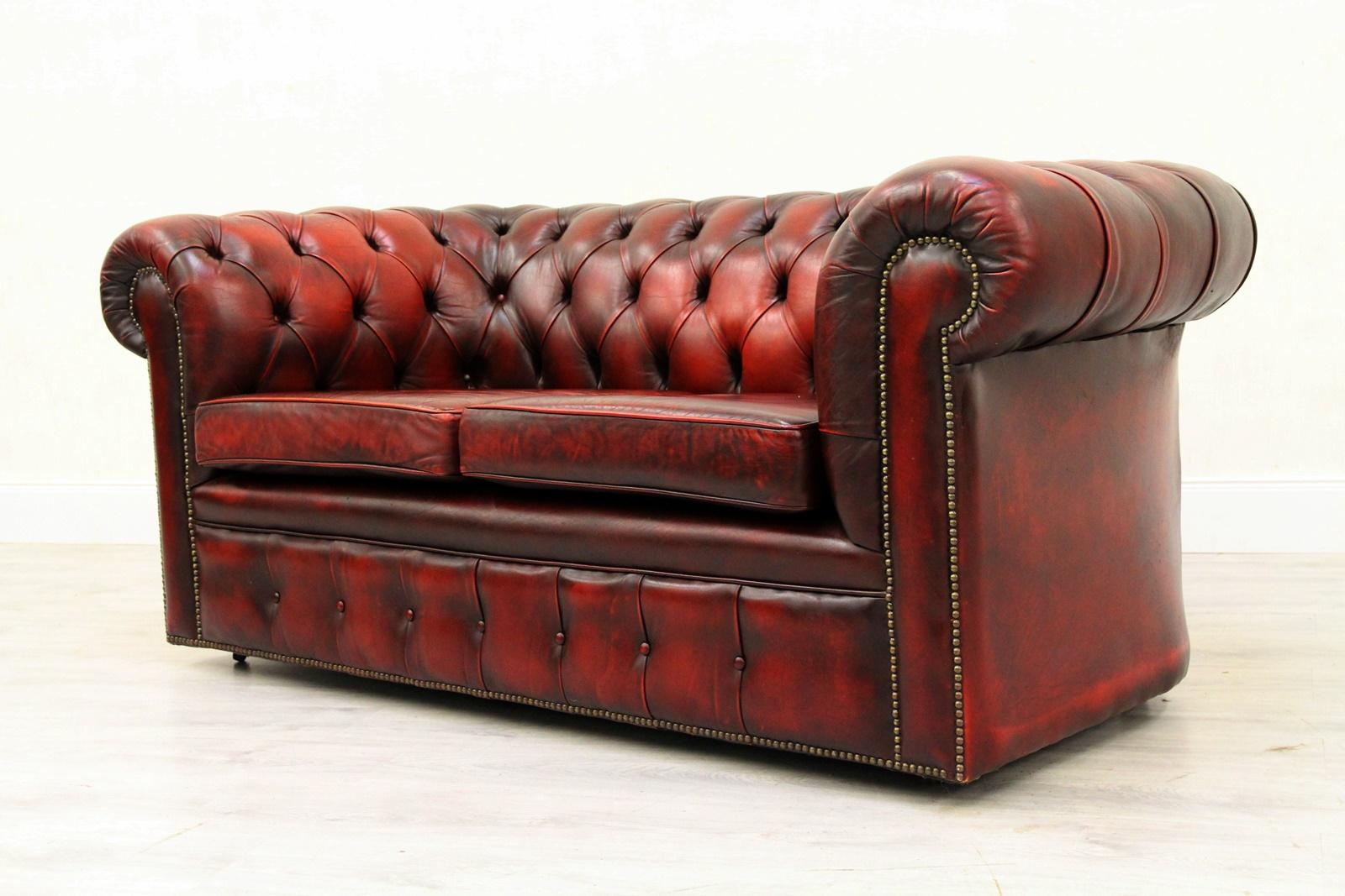 3er Couch 3 Seat 2 Seat Chesterfield Sofa Leather Antique Couch English Real Leather