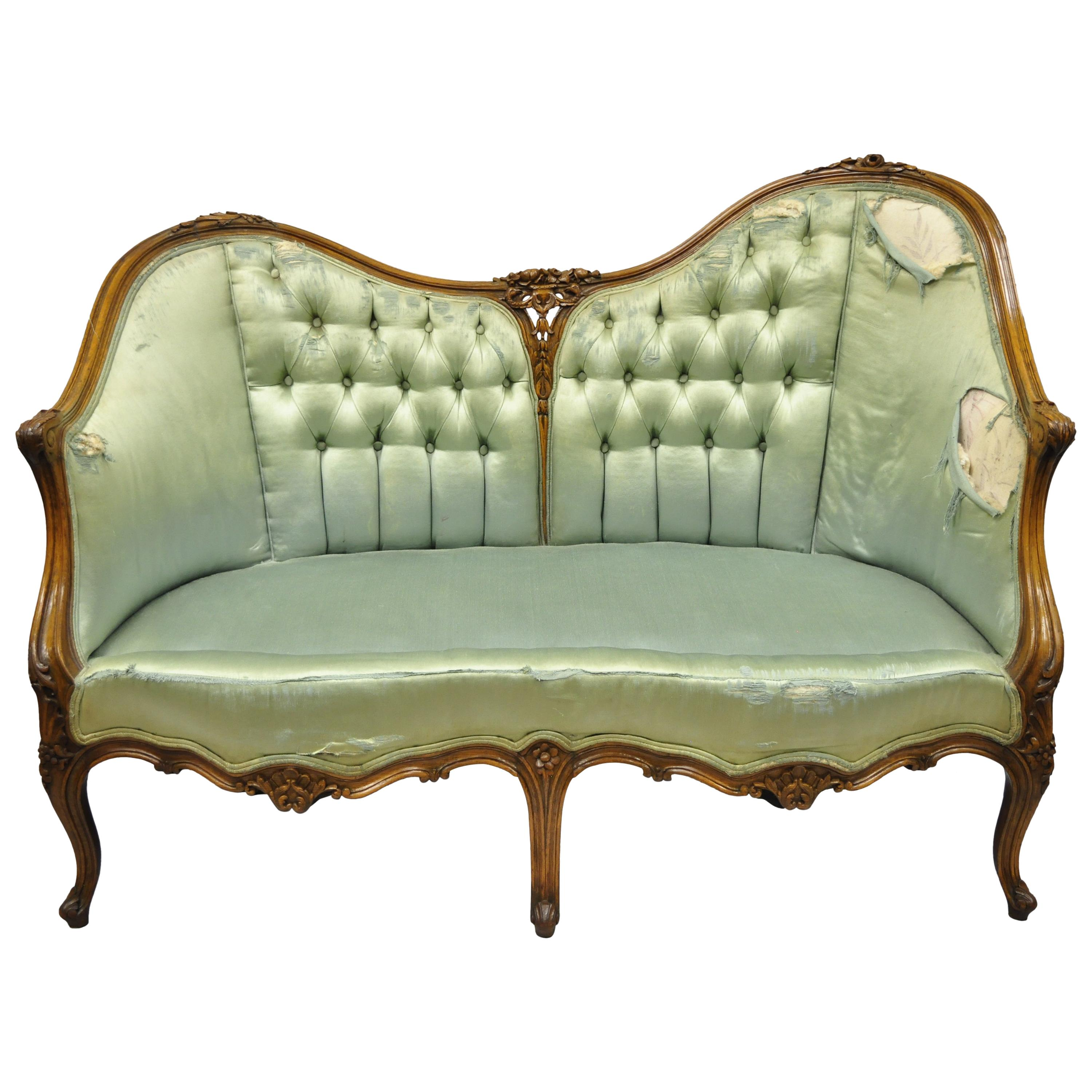 Settee Loveseat Antique French Louis Xv Style Carved Walnut Double Hump Back Settee Loveseat