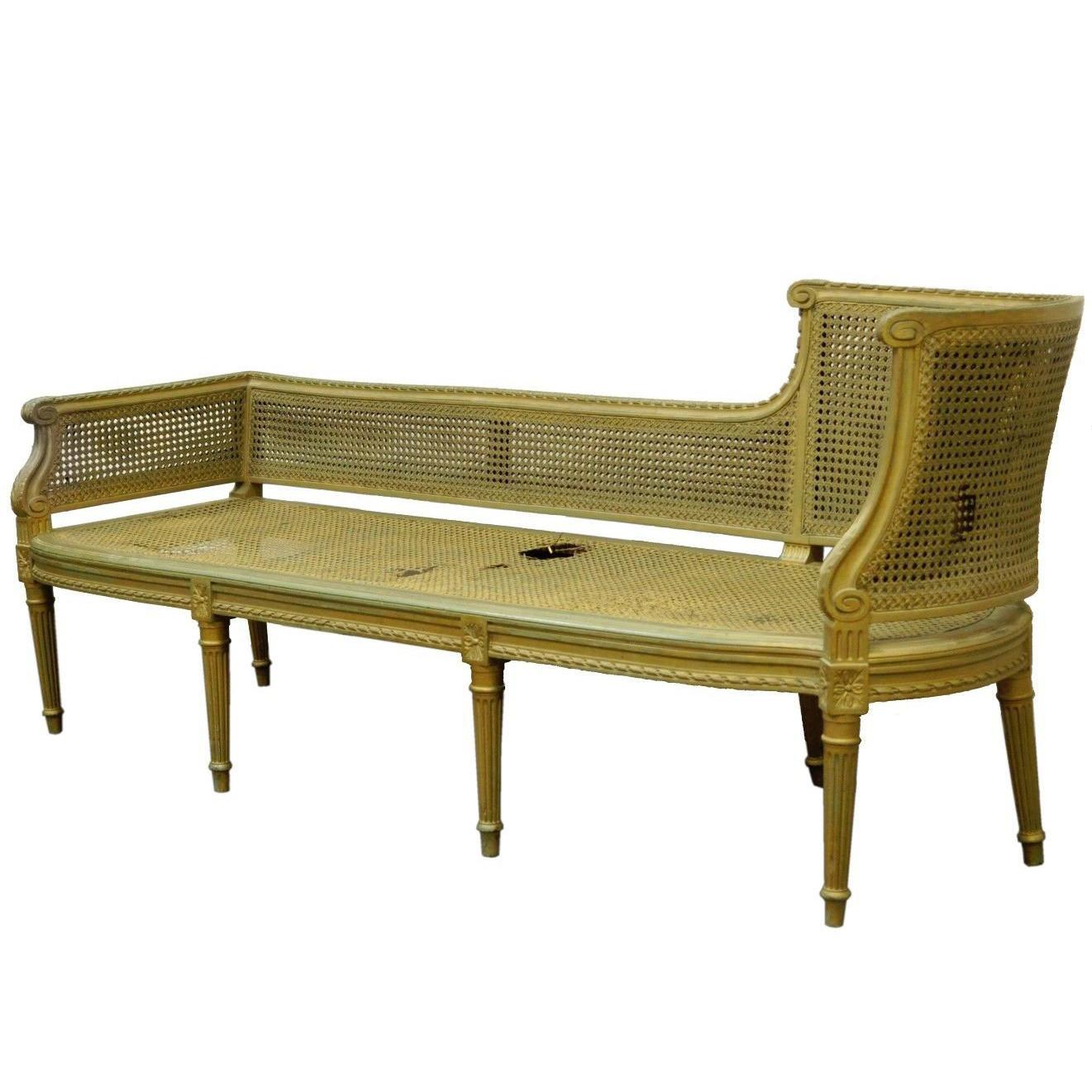 Chaise Style Antique French Louis Xvi Style Caned Chaise Lounge Recamier Fainting Couch Sofa