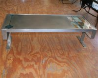 Low french coffee table of brushed stainless steel at 1stdibs