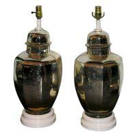Pair of 1930's Mercury Glass Ginger Jar Shaped Lamps at ...